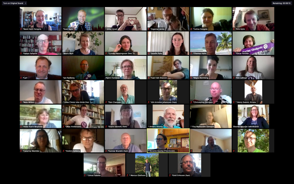 Några av deltagarna på Partiet Vändpunkts digitala kongress 2020